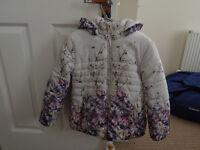 Girls padded coat, floral design, age 7