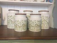 Set of 5 Hornsea England 'Fleur' storage jars