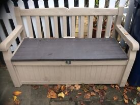 Garden bench that has room for storage, room for tons of stuff