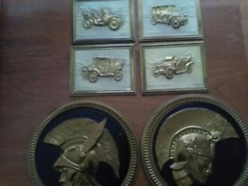 Vintage/edwardian brass wall plaques