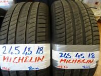 MATCHING PAIR 245 45 18 MICHELINS ONLY DUN 500 MILES £90 PAIR SUP & FITD 7-DAYS LOADS MORE AV