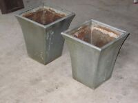 2 light, silver outdoor pot planters. Identical in size. Used for front garden doorway.