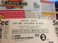 Carfest South 2 day camping tickets 25-27th August 2017