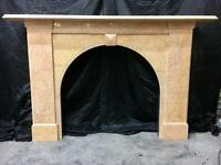 Antique Early Victorian Arch Marble Fireplace Surround