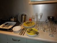 FREE DELIVERY 47 items KITCHEN POT PAN PLATES CUTLERY GLASSES MUGS BOWL