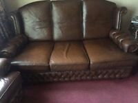 Brown Leather Chesterfield Sofa and Two Armchairs (3 Piece Suite)