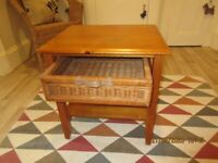 Oak Wood Bedside/Telephone Table with cane drawer.