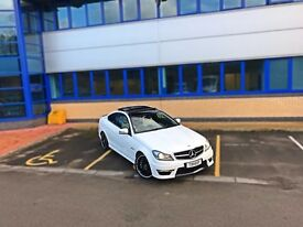 2013 13 MERCEDES C63 AMG S COUPE EDITION 125, WHITE, FULLY LOADED, PAN ROOF, INDIVIDUAL SPEC M3 RS4