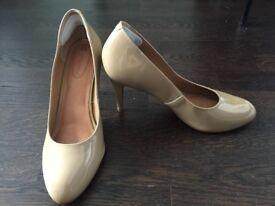 Beige Patent High Heels Size 8