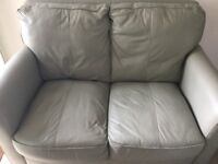 Leather Sofa Two Seater and Matching Footstool