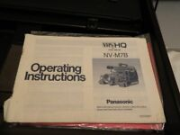1986 Panasonic VHS video camera. NV - M7B fully working