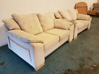 HARVEYS CREAM FABRIC SOFA SET 2 x SEATER SOFAS / SUITE / SETEE DELIVERY AVAILABLE