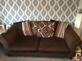Brown scatter back cushion sofa