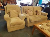 dark yellow beige highback fabric two seater sofa with Matching Armchair