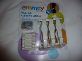 6 x EMMAY CARE WIDE GRIP CUPBOARD DRAWER SAFETY LATCHES