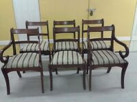 6 dining chairs,Regency style,mahogany,stable,2 carvers