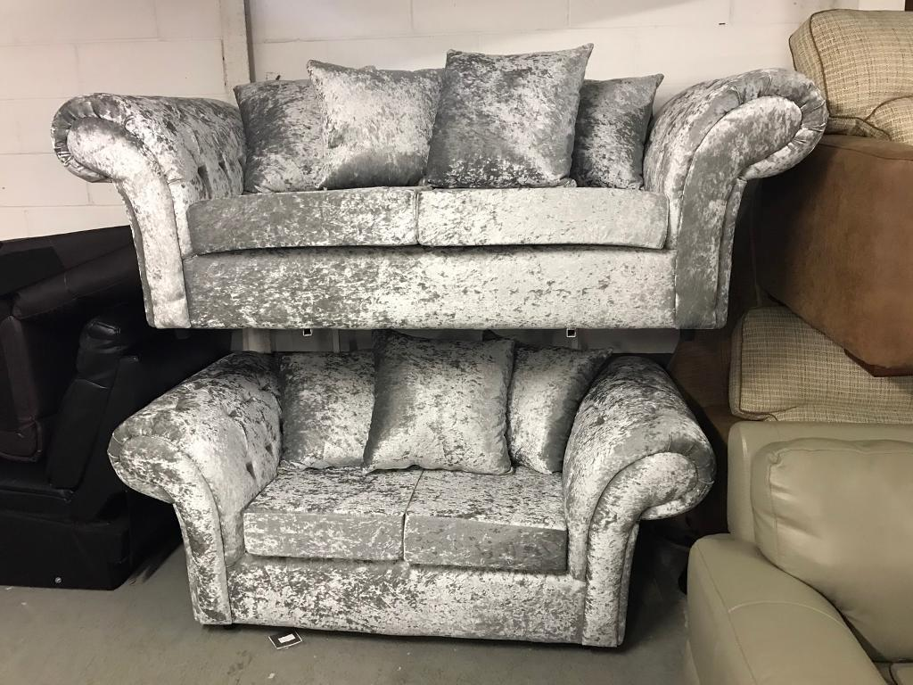 Luxurious silver Crushed Velvet 3 and 2 seater sofa set scatter pillow back scroll arms diamanté