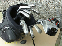 MENS RIGHT HAND GOLF CLUBS IN STAND BAG