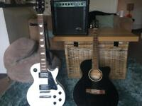 Two guitars and amp