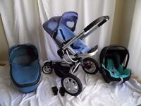 Quinny Buzz 3 Travel System Pushchair, folding Carrycot And Maxi Cosi car seat