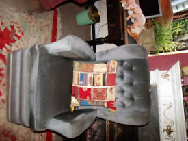 vintage wing back button back arm chair