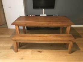 SOLD Oak table and bench for sale