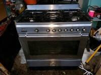 Smeg range cooker and hood