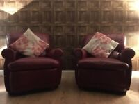 Leather 3 seater sofa and two arm chairs.