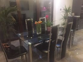 Glass dining table (Italian) and 6 chairs
