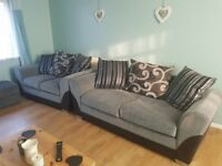 Big 3 seater and 2 seater sofas and footstool for sale like new. Smoke free home