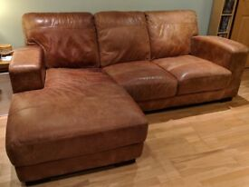 Leather sofas and footstool