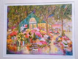 Painting Limited Edition Mounted Painting Print 'Place de Ternes'. Certified. By Dorothy Spangler