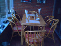 a quality patio set 6 chairs cushions and large table