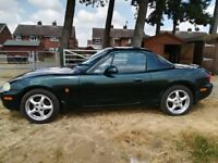 Mazda MX5 1.8 for spares or repair, under 75k from new complete with its hard top.