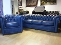2 piece bulo colour leather chesterfield.three setter and club chair.excellent condition.