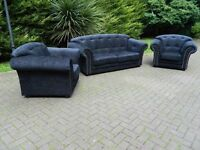 Chesterfield Style 3+1+1 Black Fabric Suite (Newly Re-Covered)