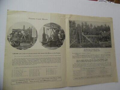 1915 Austin Cube Mixer Concrete Mixer Letter Brochure Panama Canal Antique Orig.