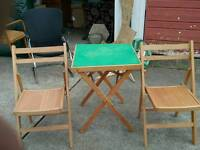 Fold up lightwood Table and 2 Fold up Chairs