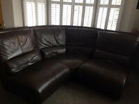 Italian leather chocolate corner and two seater sofa