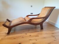 Plantation solid teak and leather recliner chair