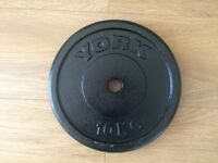 YORK 10KG CAST IRON WEIGHT PLATES