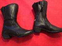 Ladies black motorbike boots