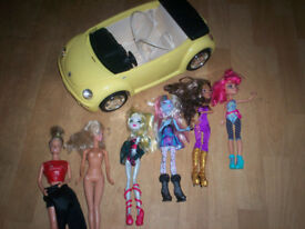 barbie car and bratz dolls