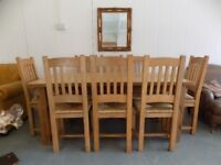 Beautiful 6FT Rustic Solid Pine Table With 8 Chairs