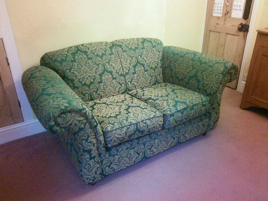 Sofa Green With Gold Cream Brocade