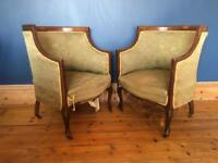 A pair of Edwardian tub chairs
