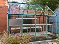 Greenhouse 6x8ft in green finish, with toughened safety glass