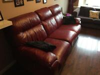 3 seater leather couch with recliner and reclining chair