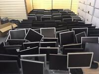 job lot of 159 pc monitors, various makes and models working with cables