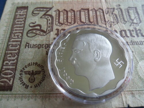 Nazi German Huge Silver Plated 100 Reichsmark Hitler Coin with Capsule